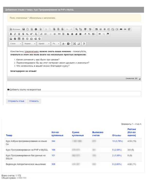 Система отзывов и оценок покупателей